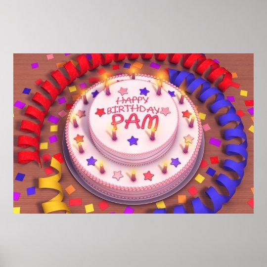 Torta del cumpleaños del PAM Póster