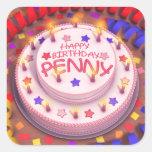 Torta del cumpleaños del penique calcomanía cuadrada personalizada