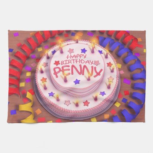 Torta del cumpleaños del penique toalla de cocina