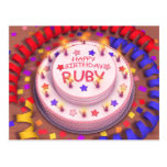 Torta del cumpleaños del rubí postal