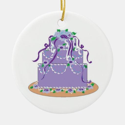 Torta del diseñador en sombras de la púrpura ornamento de navidad