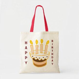 Torta del feliz cumpleaños bolsa tela barata