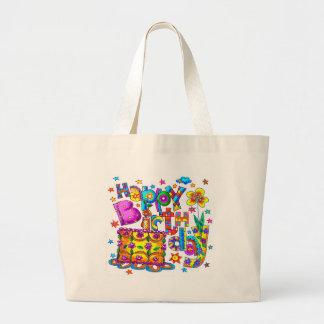Torta del feliz cumpleaños bolsa tela grande
