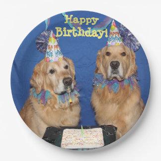 Torta del feliz cumpleaños de los perros platos de papel