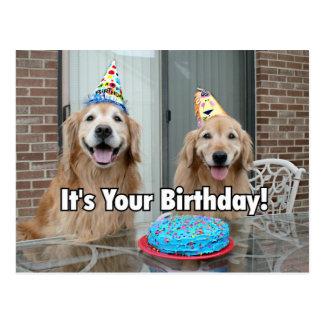 Torta del feliz cumpleaños del golden retriever tarjeta postal