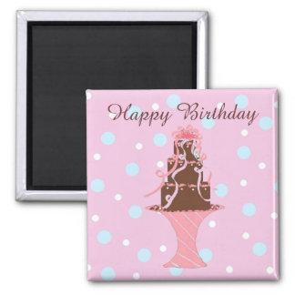 Torta del feliz cumpleaños imán cuadrado