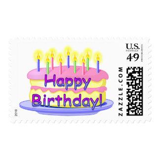 Torta del feliz cumpleaños sello postal