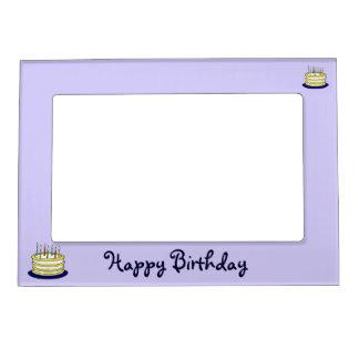Torta del feliz cumpleaños y velas de marco magnét marcos magnéticos de fotos