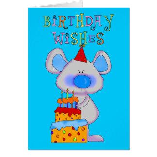 Torta del ratón de los deseos del feliz cumpleaños tarjeta de felicitación