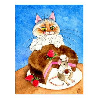 Torta del ratón del chocolate postales