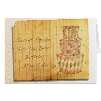 Torta del ron del cumpleaños tarjeta de felicitación