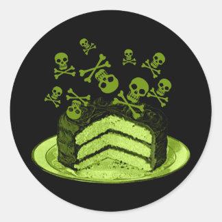 Torta del veneno pegatina redonda