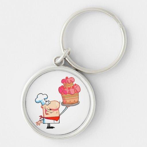 torta divertida de la tenencia del cocinero del di llavero personalizado
