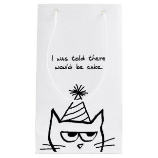 Torta enojada de las demandas del gato - bolso bolsa de regalo pequeña