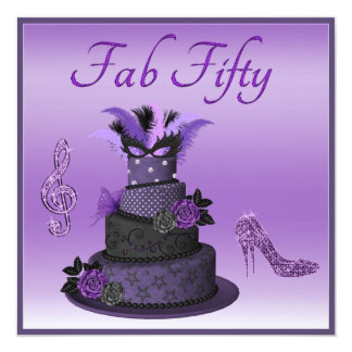 Torta fabulosa de la diva de cincuenta púrpuras, invitación 13,3 cm x 13,3cm