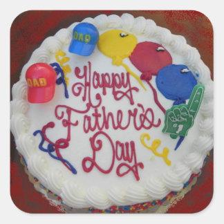 Torta feliz del día de padre calcomanía cuadradase