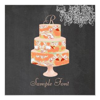 Torta floral de Alicia del monograma de PixDezines Invitación