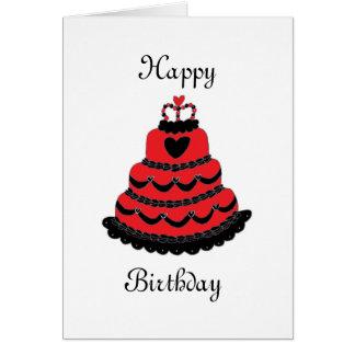 Torta gótica de los corazones rojos del feliz tarjeta de felicitación