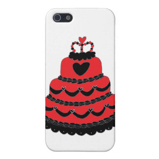 Torta gótica de los corazones rojos iPhone 5 cárcasas