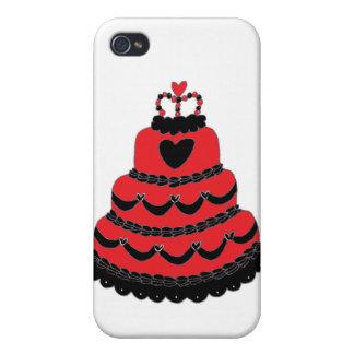 Torta gótica de los corazones rojos iPhone 4 fundas