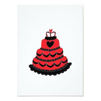 """Torta gótica de los corazones rojos invitación 5"""" x 7"""""""