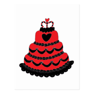 Torta gótica de los corazones rojos postales