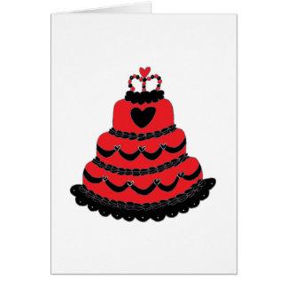 Torta gótica de los corazones rojos tarjeta de felicitación