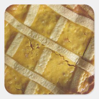 Torta italiana tradicional Pastiera Napoletana Pegatina Cuadrada