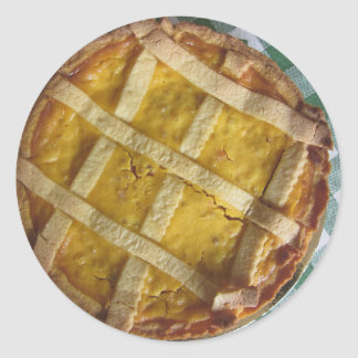 Torta italiana tradicional Pastiera Napoletana Pegatina Redonda