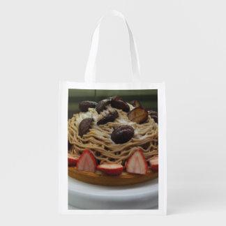 Torta japonesa de los espaguetis y de la fresa bolsa reutilizable