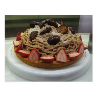 Torta japonesa de los espaguetis y de la fresa tarjetas postales