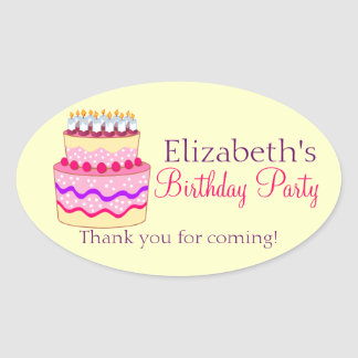 Torta linda del feliz cumpleaños personalizada pegatina ovalada