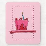 Torta Mousepad del rojo y del rosa Tapetes De Raton