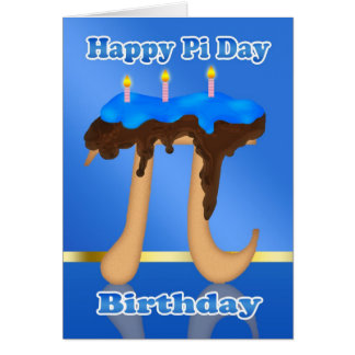 Torta pi día 3,14 cumpleaños del 14 de marzo tarjeta de felicitación