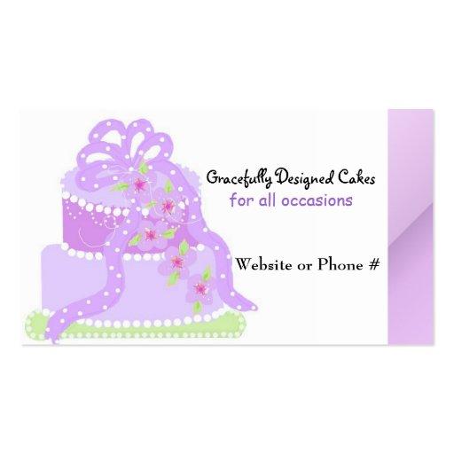 Torta púrpura del diseñador de la cinta tarjeta personal