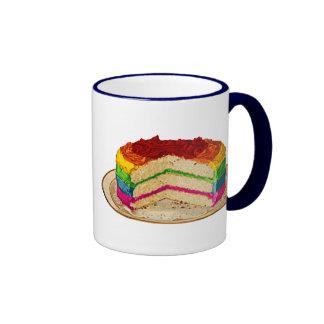 Torta retra del arco iris taza