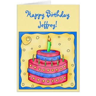 Torta roja de la tarjeta del feliz cumpleaños en