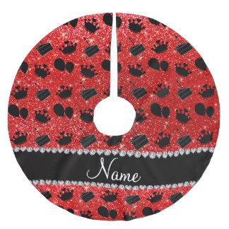 Torta roja de neón conocida de los globos de las falda para arbol de navidad de poliéster