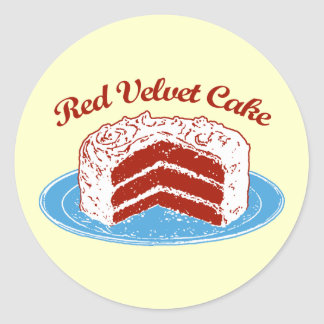 Torta roja del terciopelo pegatina redonda