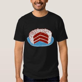 Torta roja del terciopelo remera