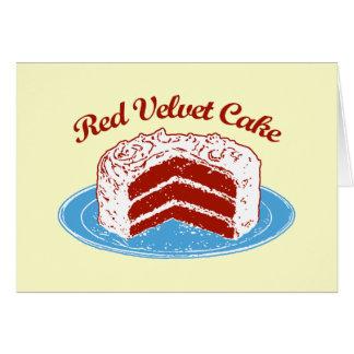 Torta roja del terciopelo tarjeta de felicitación