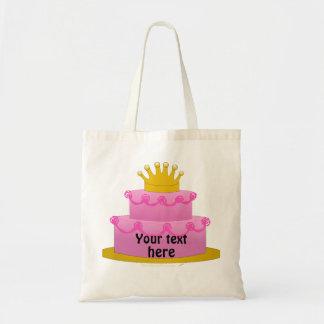Torta rosada con cumpleaños de la corona bolsa tela barata