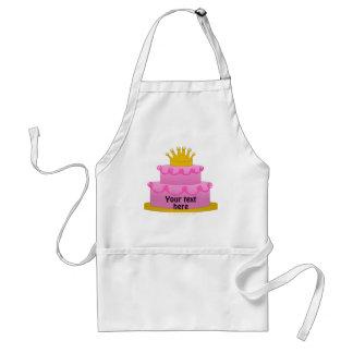 Torta rosada con cumpleaños de la corona delantales