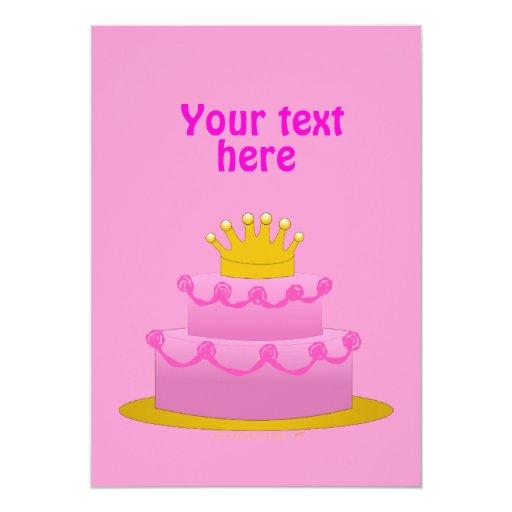 """Torta rosada con cumpleaños de la corona invitación 5"""" x 7"""""""