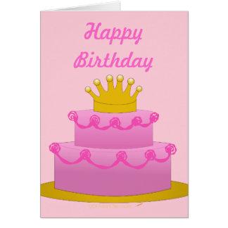Torta rosada con el espacio en blanco del tarjeta de felicitación