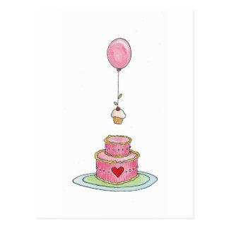 Torta rosada con el globo y la magdalena tarjetas postales