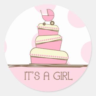 """Torta rosada del carro de bebé """"es pegatina de un"""