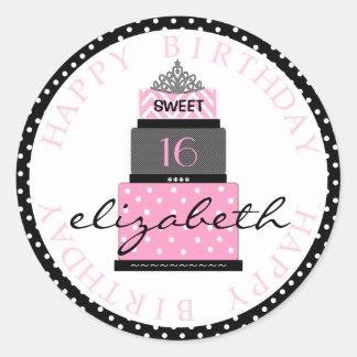 Torta rosada del dulce 16 pegatina redonda