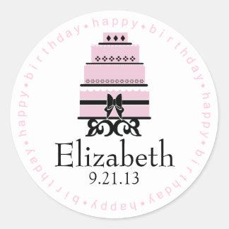 Torta rosada del feliz cumpleaños pegatinas redondas