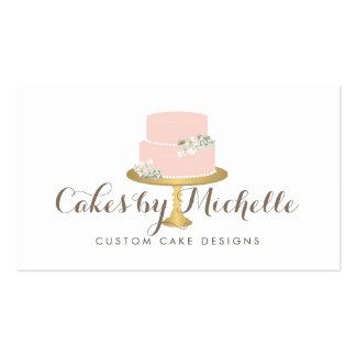 Torta rosada elegante con la torta floral que tarjetas de visita